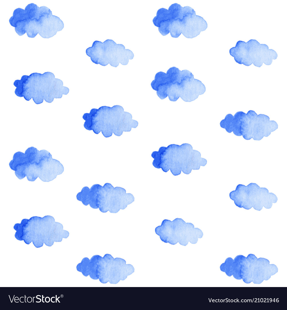 Seamless pattern with blue clouds on white
