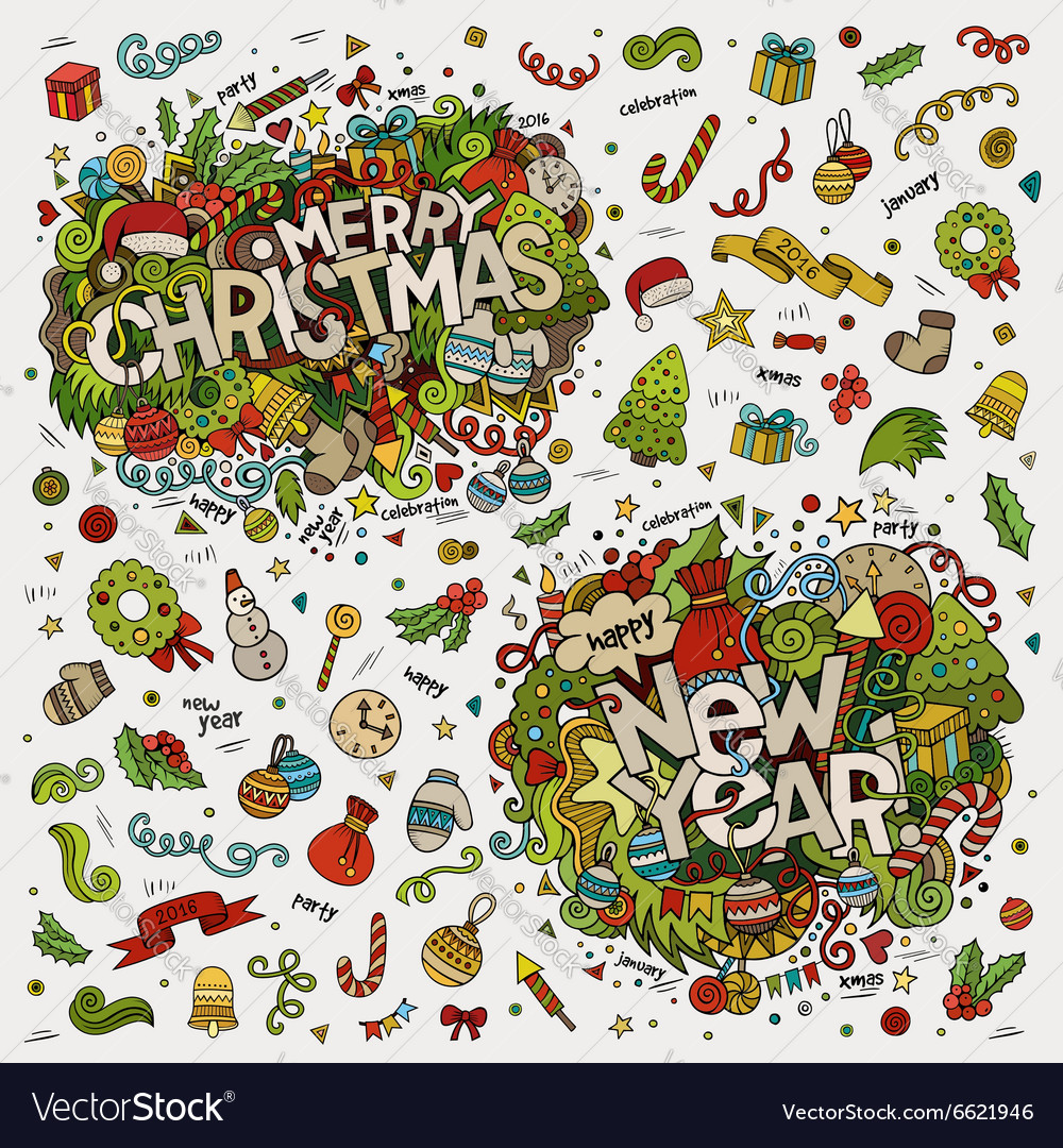 Set of Merry Christmas and New Year hand lettering