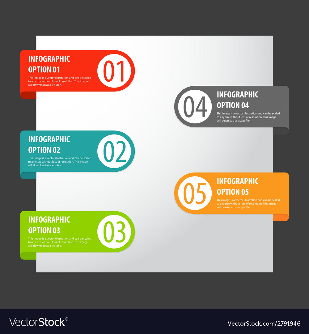 Set of modern infographics options tags