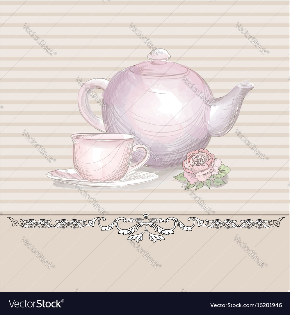 Tea time vintage background tea kettle and cup