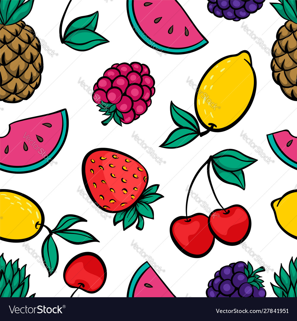 Beautiful seamless pattern with cute doodle fruits