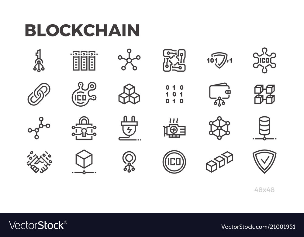 Blockchain technology icons cryptography crypto