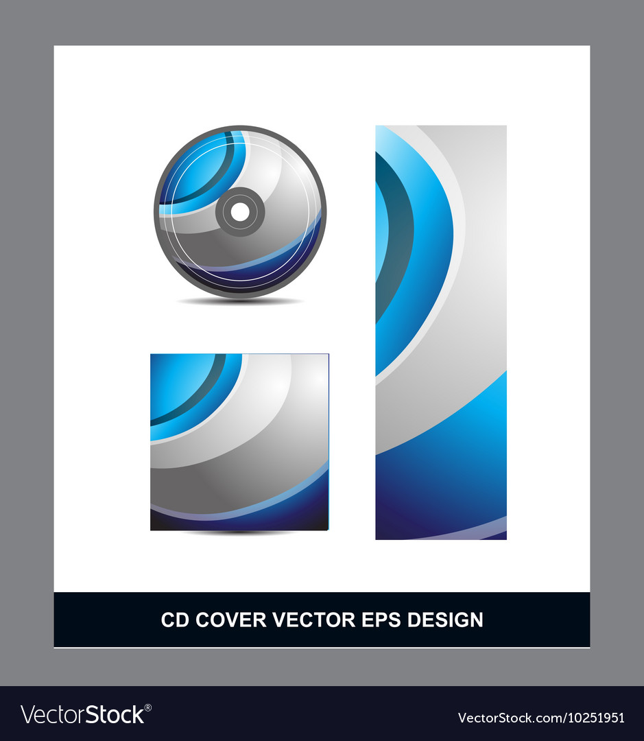 Blue Silver Grey Cd Dvd Cover Design Royalty Free Vector