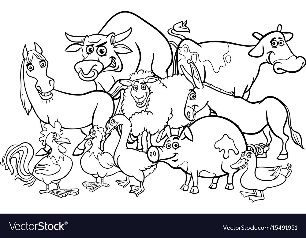 Cartoon Farm Animals Coloring Book Royalty Free Vector Image