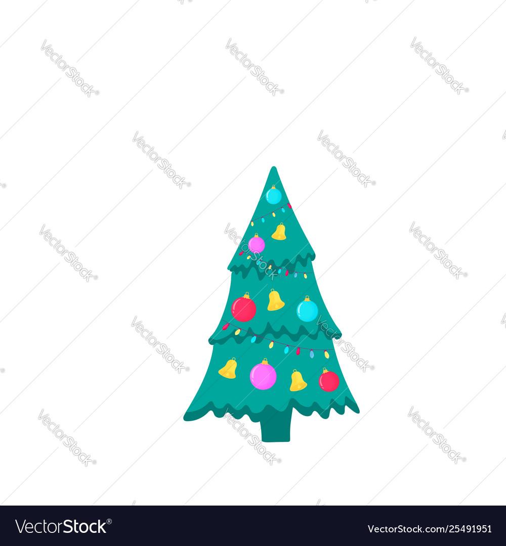 Christmas fir-tree icon on white background