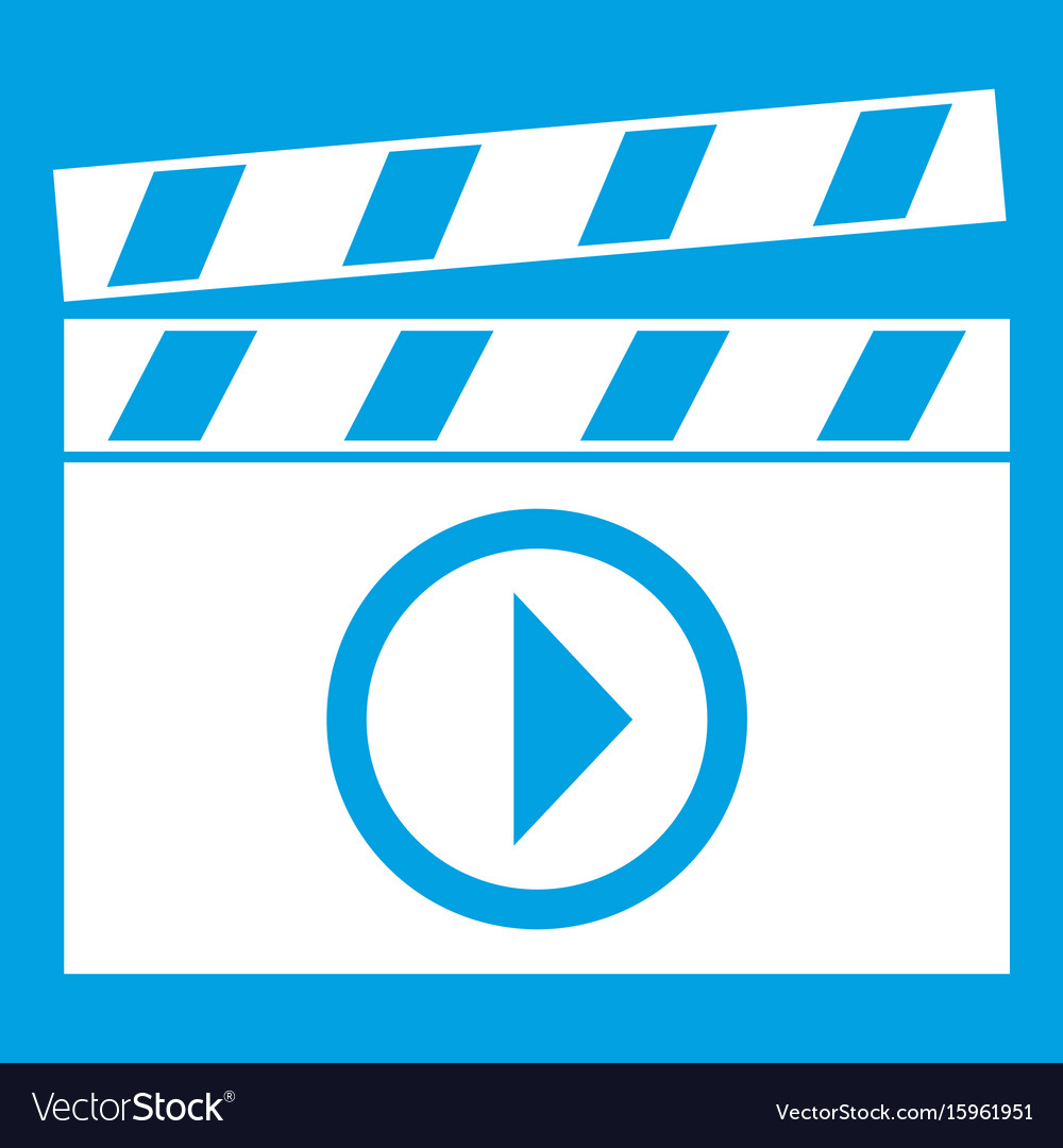 Clapperboard for movie shooting icon white vector image