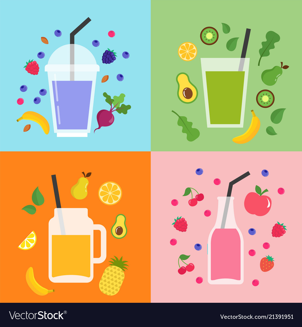 Collection of different colorful smoothies fruit