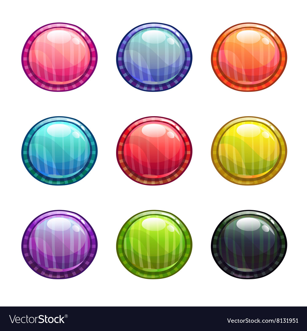 Colorful round buttons set