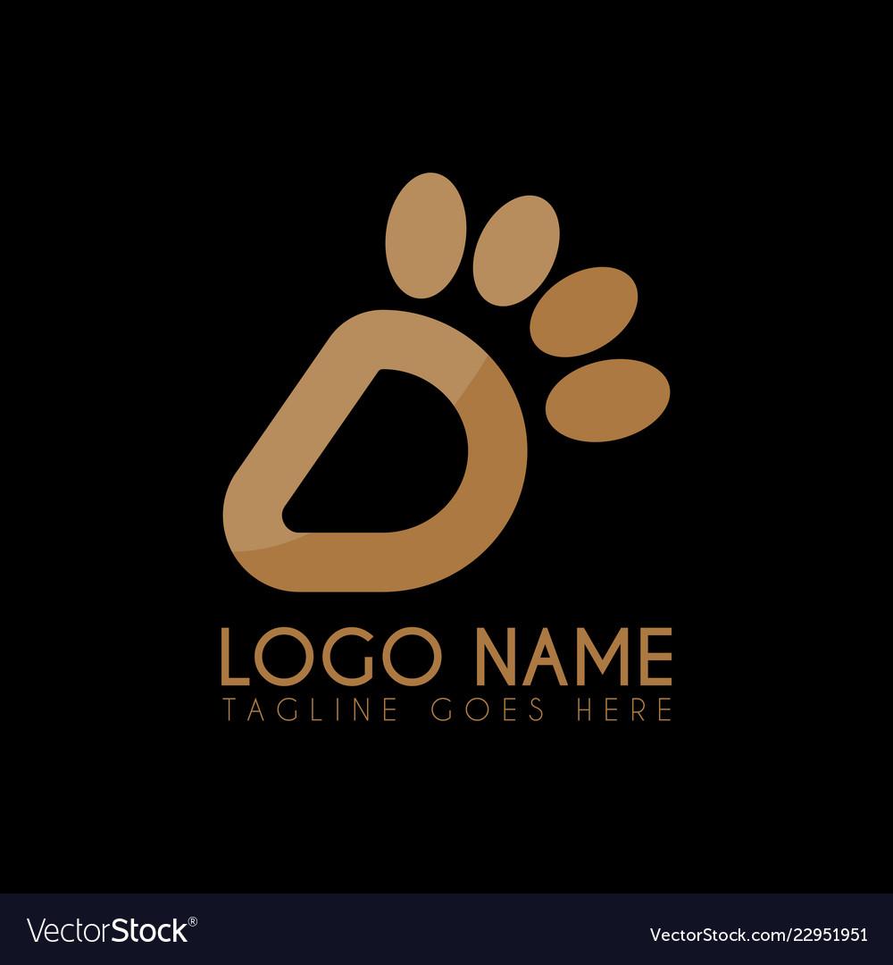 Letter d paw logo icon logo symbols