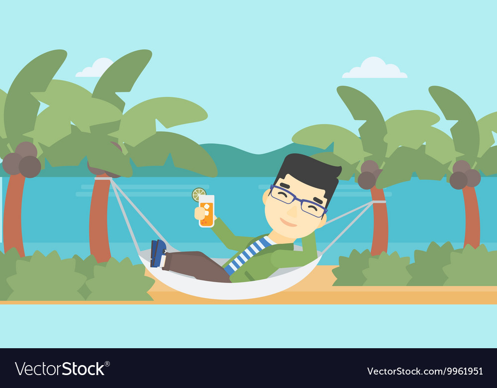 Man chilling in hammock with cocktail vector image