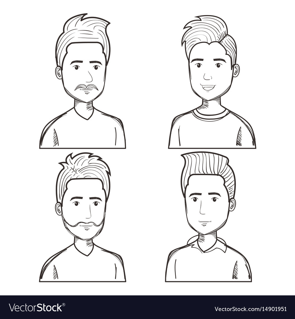 Men with different hairstyles set