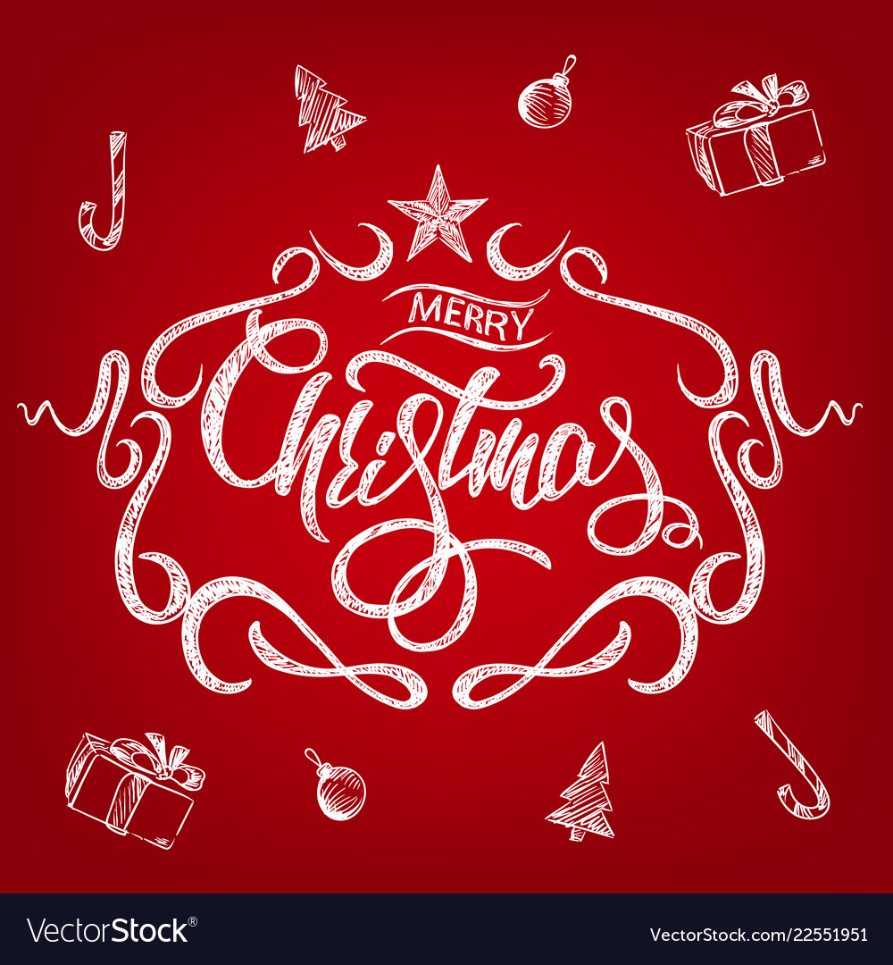 Merry christmas greeting card with chalk drawn