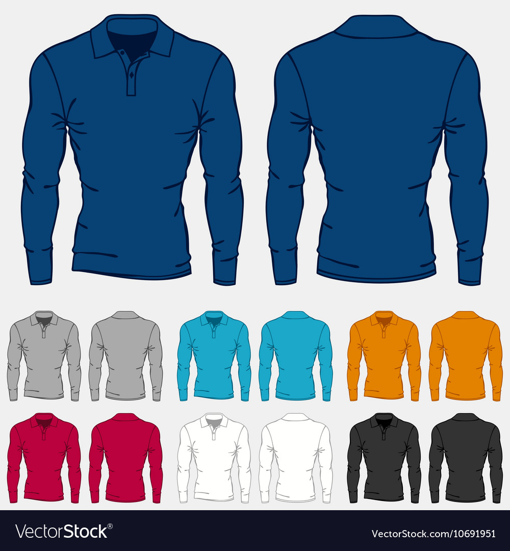 Set of colored long sleeve polo-shirts templates