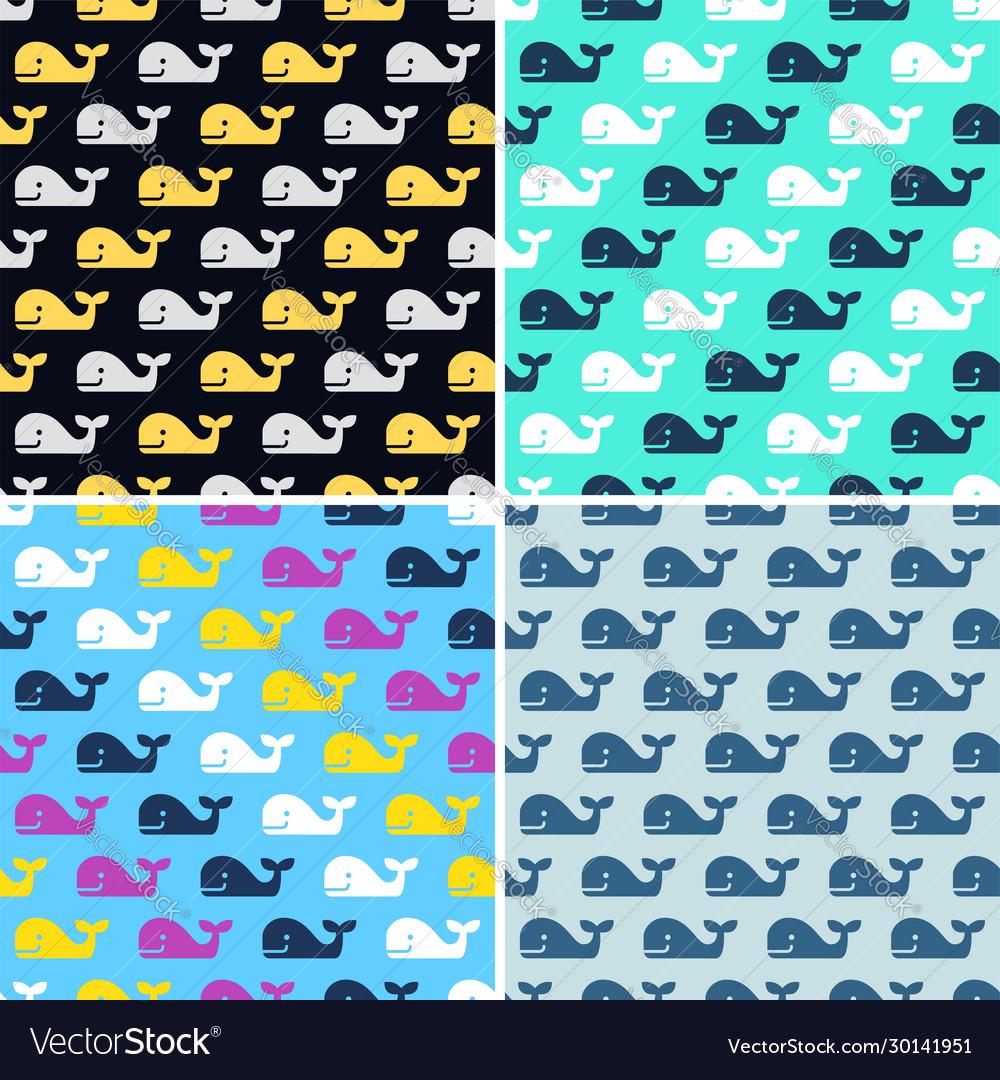 Set whale fish seamless patterns