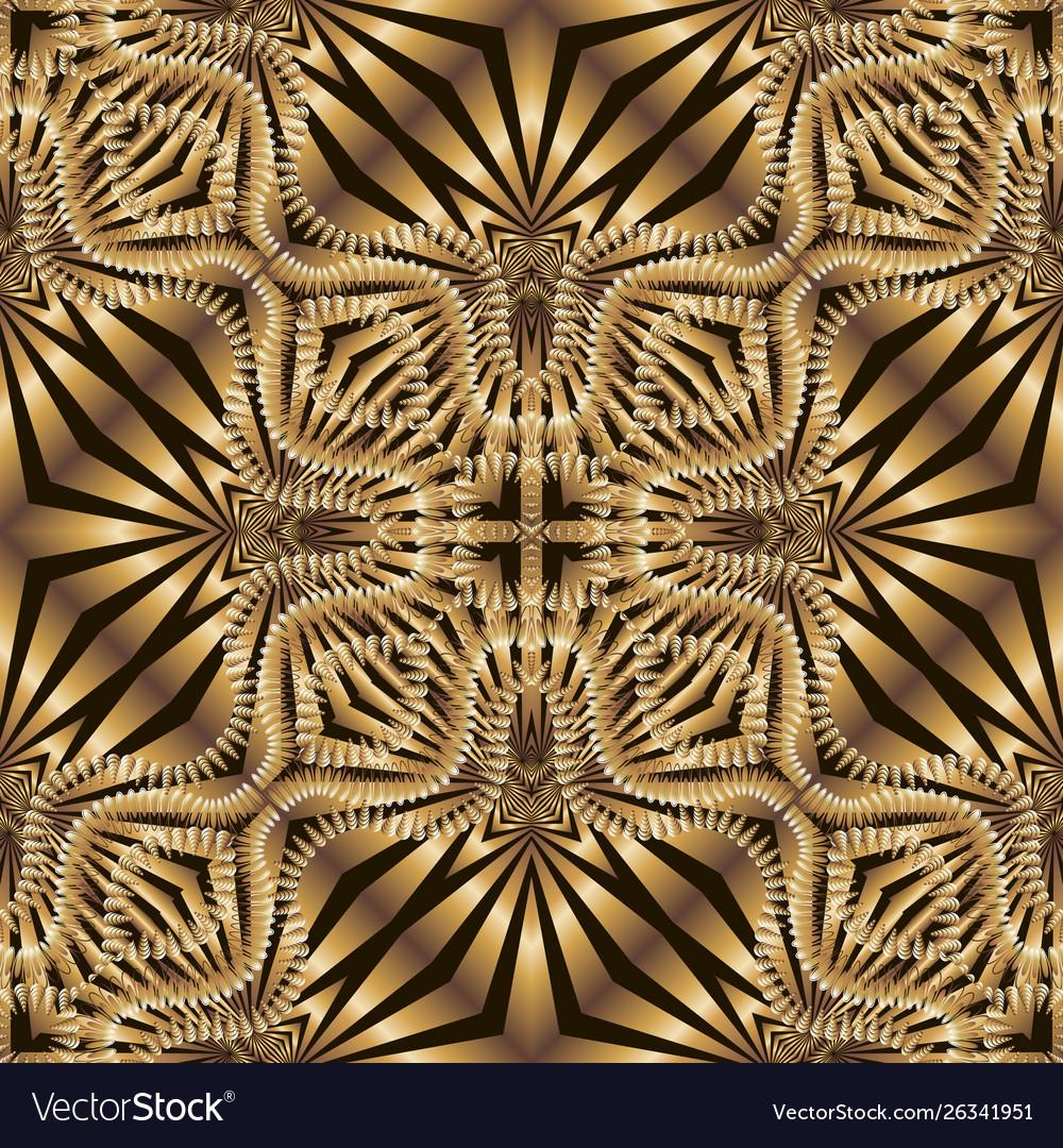 Striped Ornamental Gold 3d Seamless Pattern