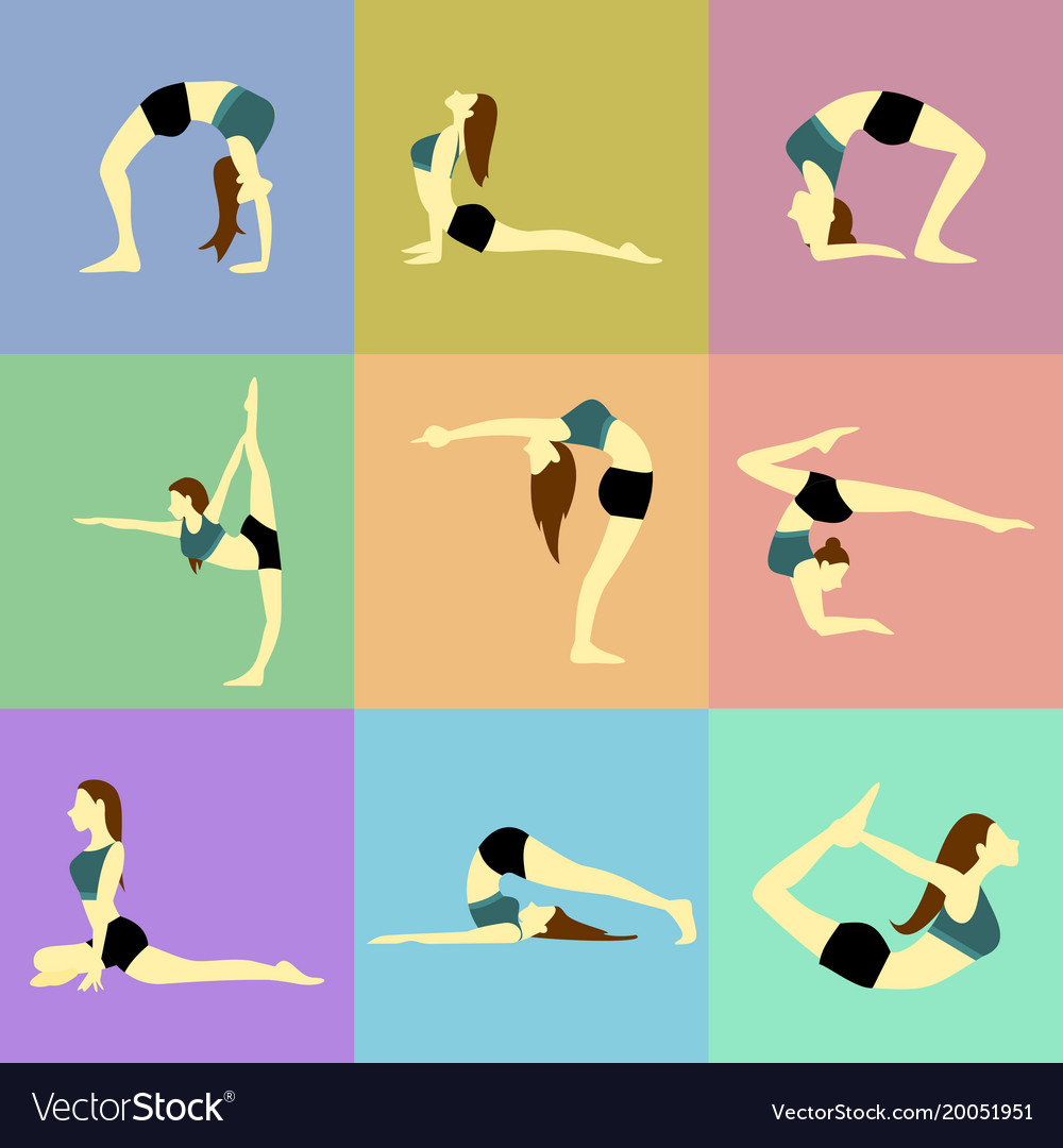 Various Pose Yoga Posture Set Royalty Free Vector Image