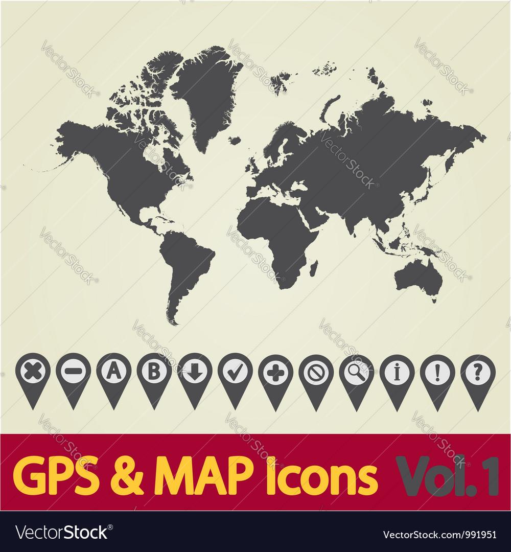 World map gps royalty free vector image vectorstock world map gps vector image gumiabroncs Gallery