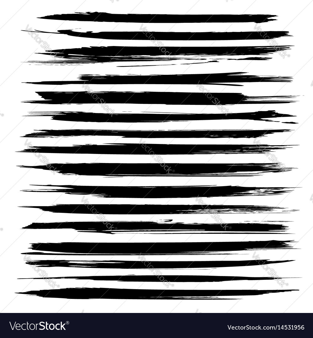 Abstract long black textured strokes big set vector image