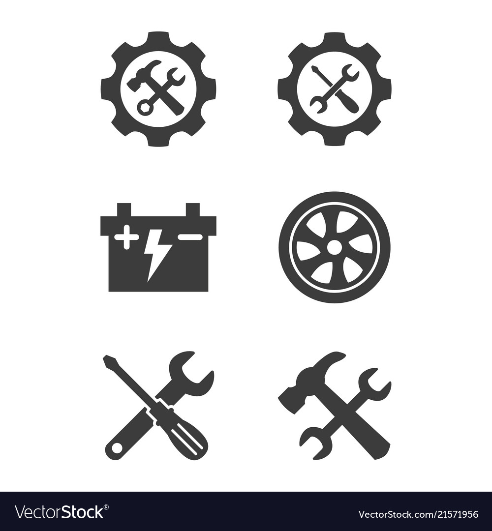 Car service and repair icons set on white