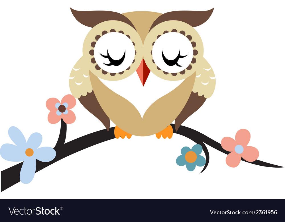 Cartoon Owl On A Flowering Tree Branch Royalty Free Vector Photo & gallery owl cartoon in tree. vectorstock