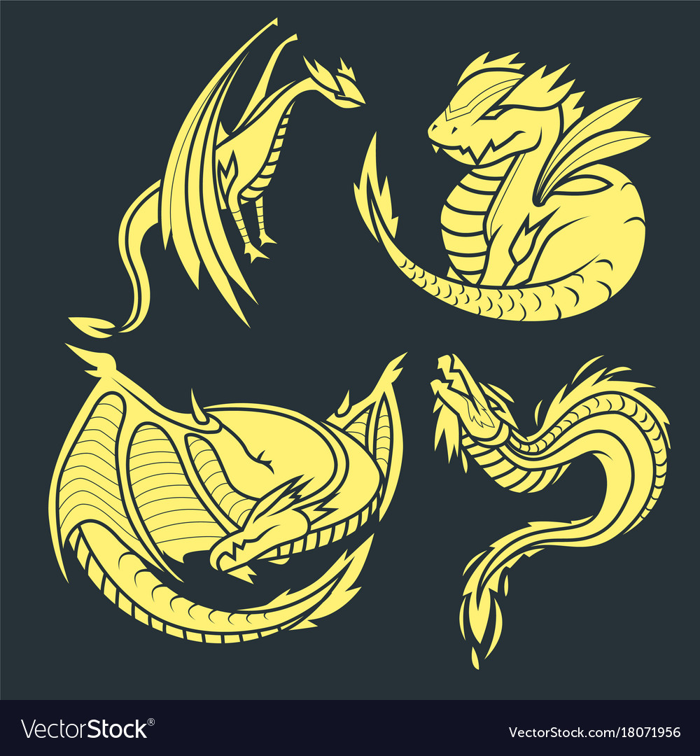 Chinese dragon silhouettes tattoo mythology tail
