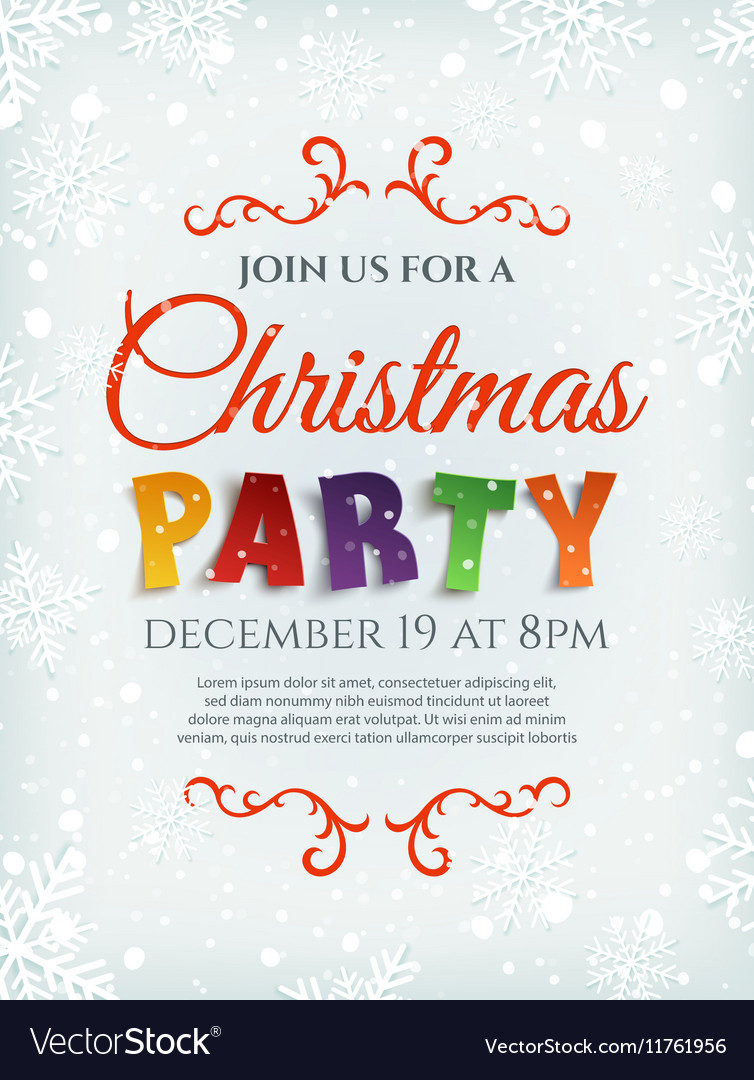 Christmas party poster template with snow and