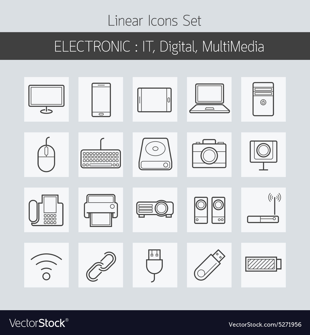 Electronic IT Digital Equipment and Devices Icons