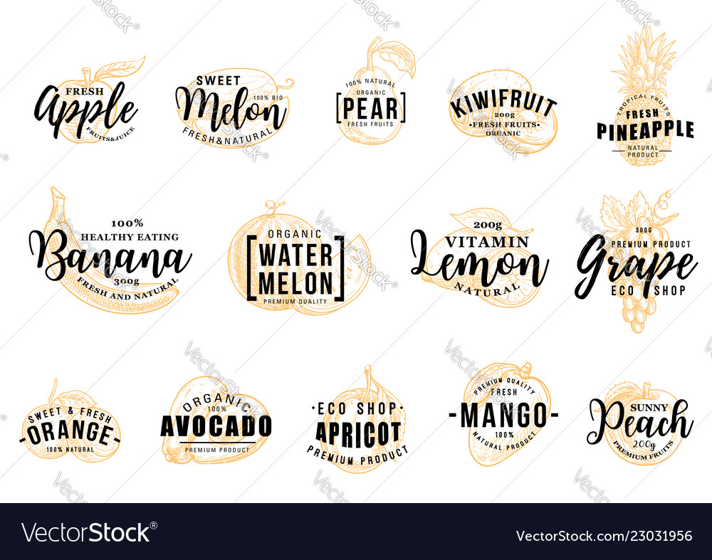 Fruits silhouettes icons with letterings isolated