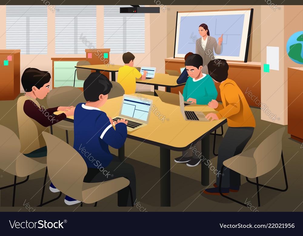 Kids In Computer Class Vector Image