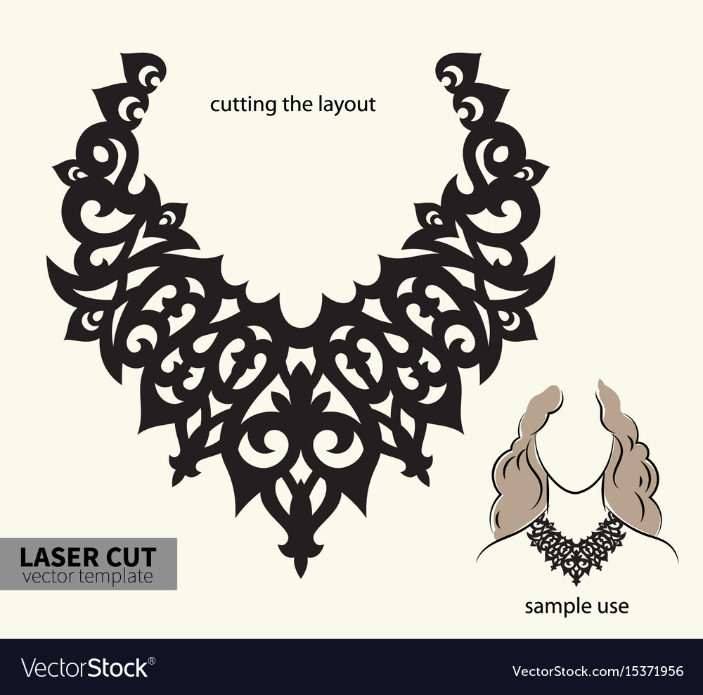 Laser cutting necklace Royalty Free Vector Image
