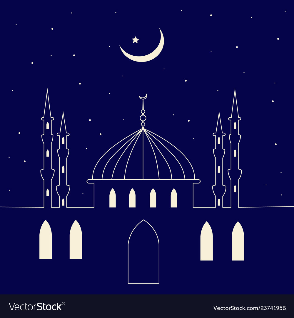 Mosque silhouette in night sky and abstract light