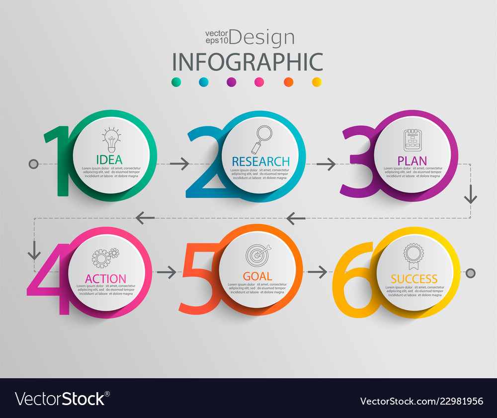 Paper infographic template with 6 circle options