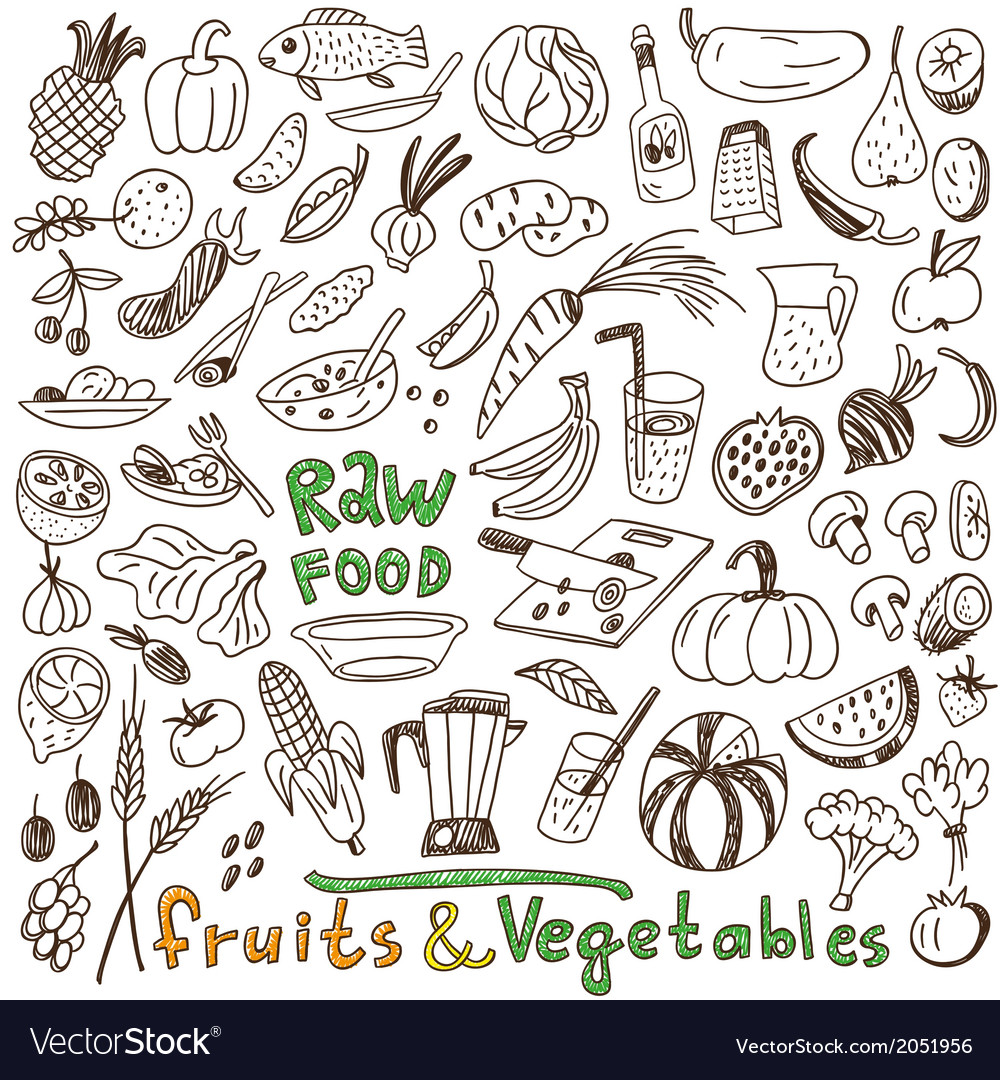 Raw Food Doodles Collection Royalty Free Vector Image