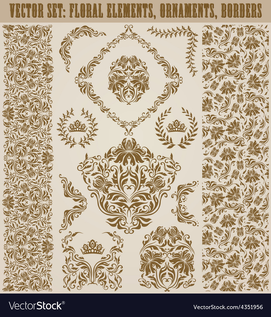 Set of damask ornaments