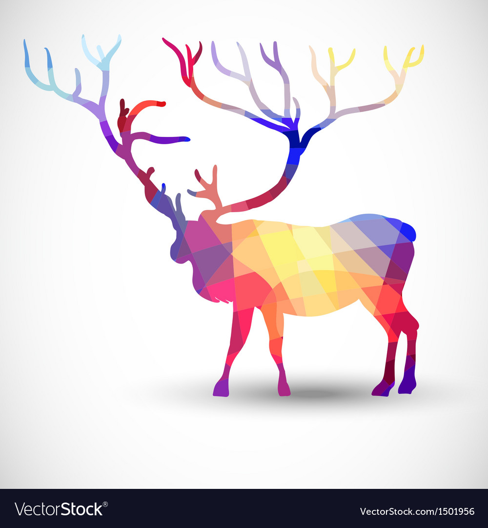 Silhouette a deer of geometric shapes