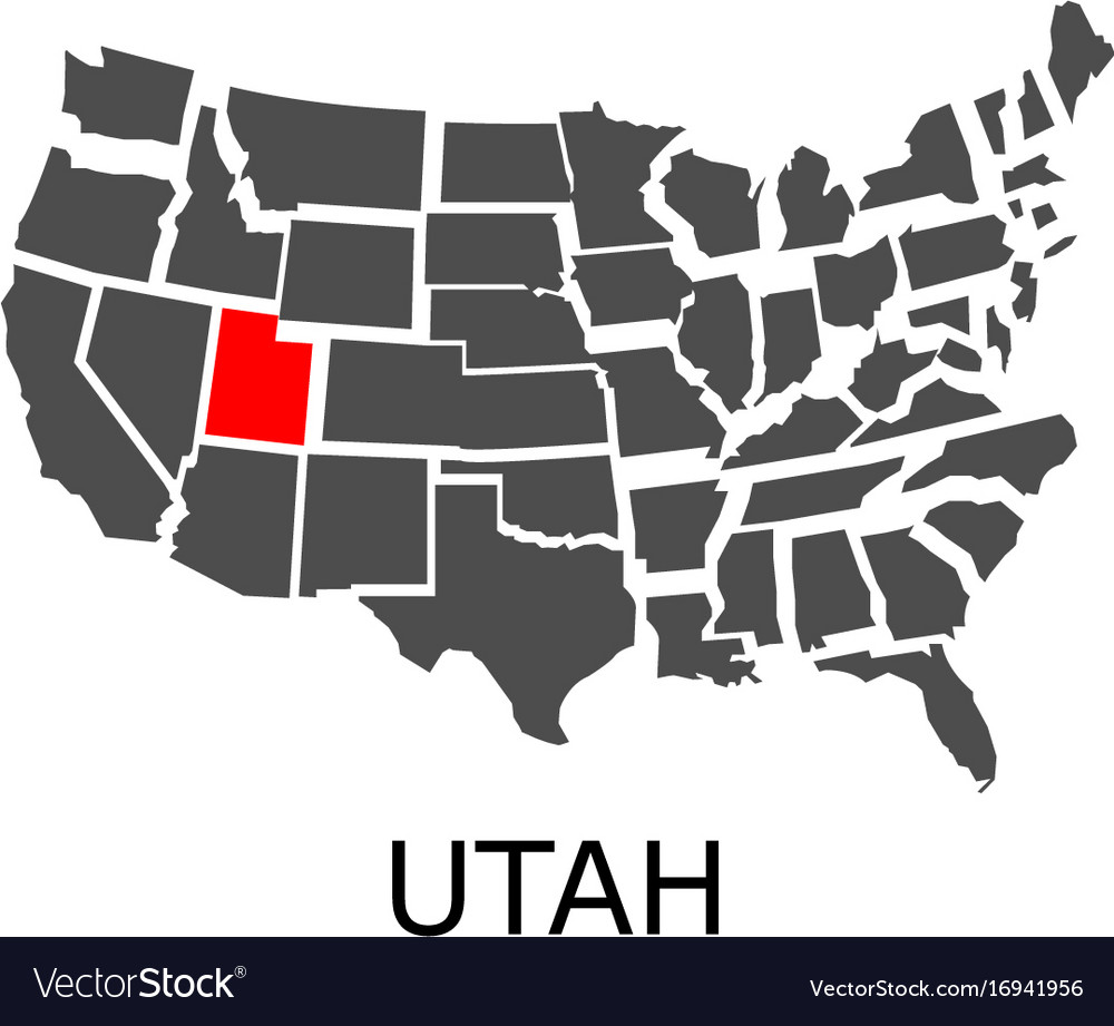 State of utah on map of usa Royalty Free Vector Image