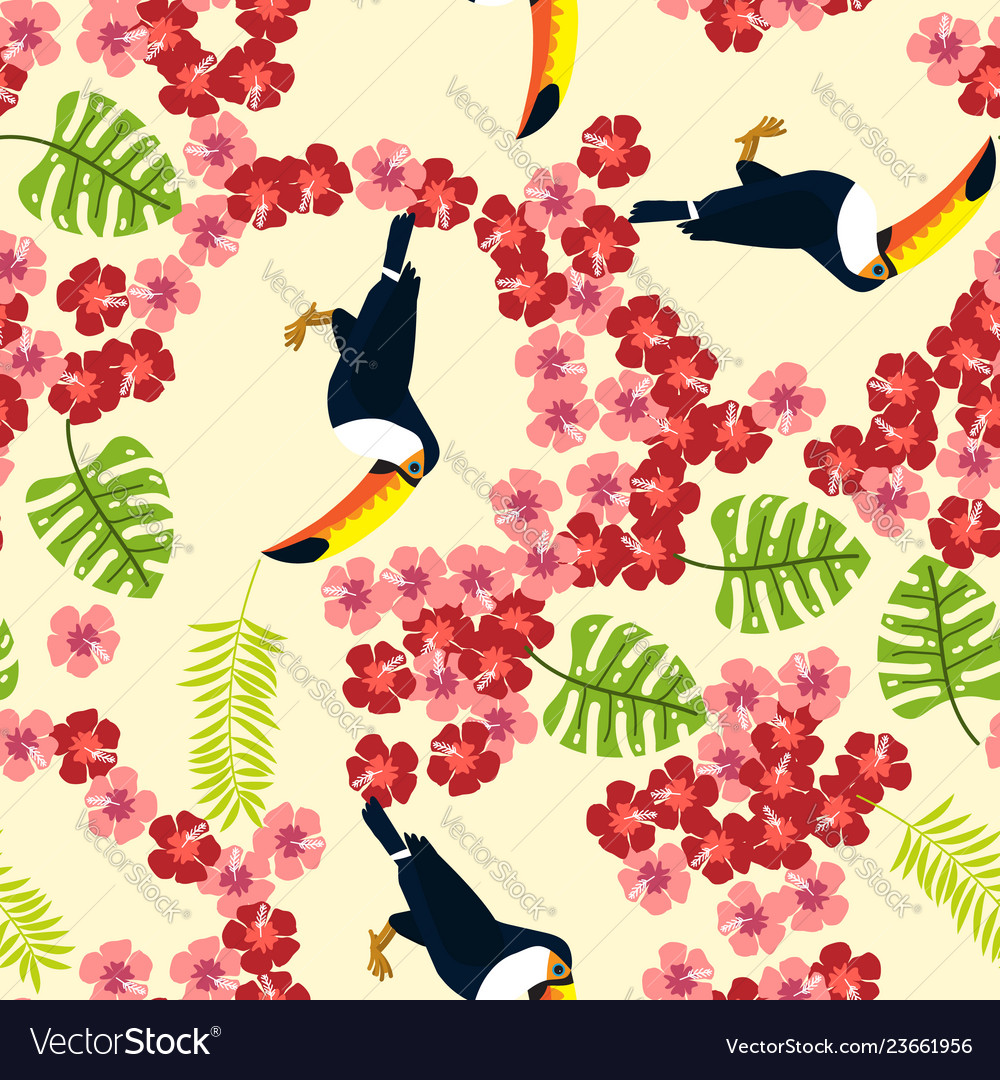Summer seamless pattern with tropical bird toucan
