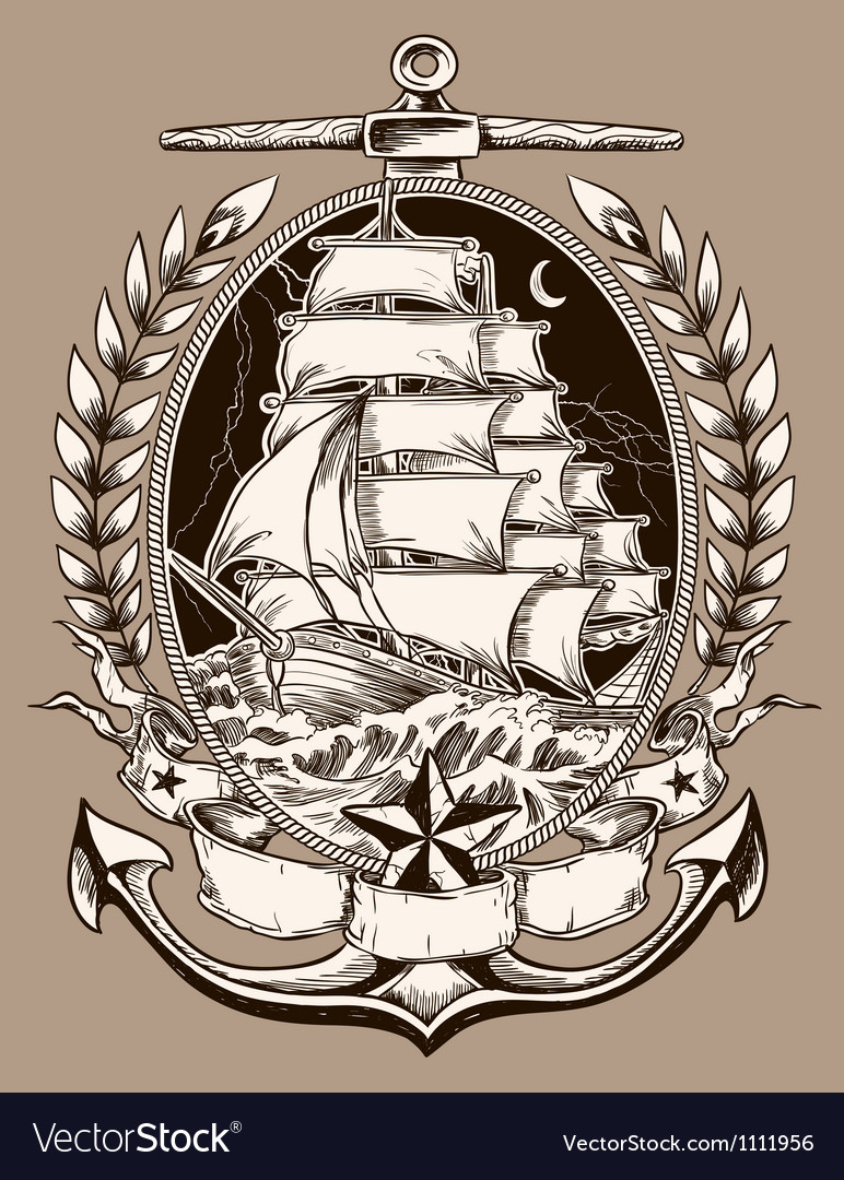 Tattoo Style Pirate Ship In Crest