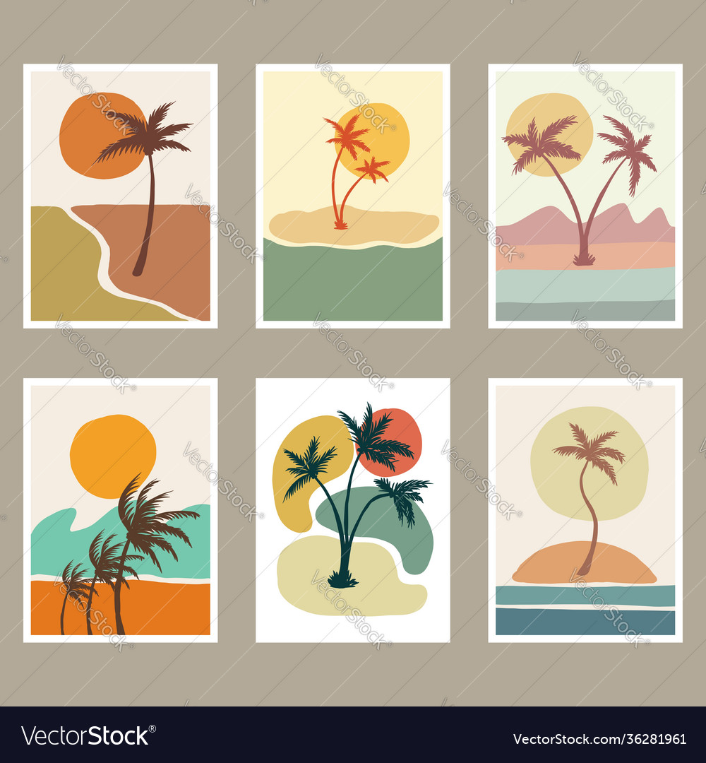 Abstract beach landscape cover vector