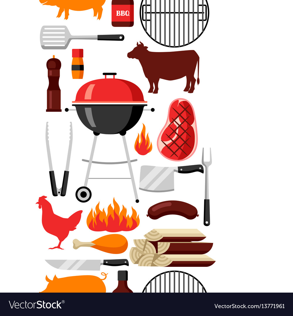 Bbq seamless pattern with grill objects and icons vector image