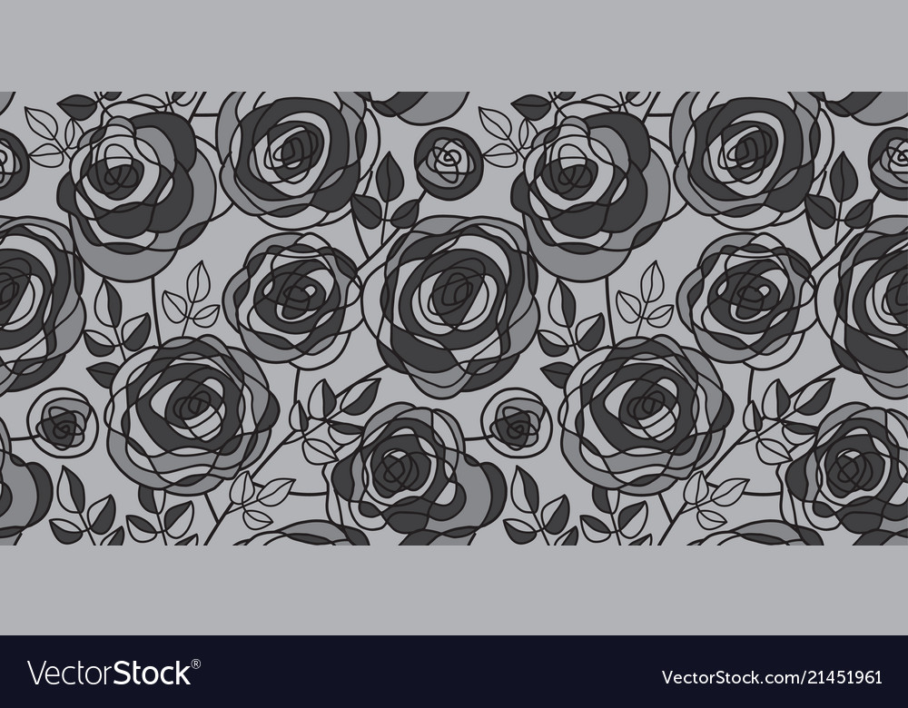 Black and gray hand drawn rose motif