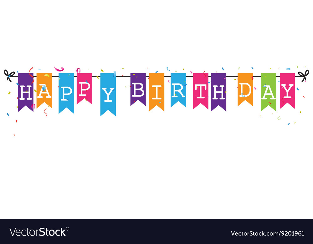happy birthday letter banner bunting flags banner with happy birthday letter vector image 8105