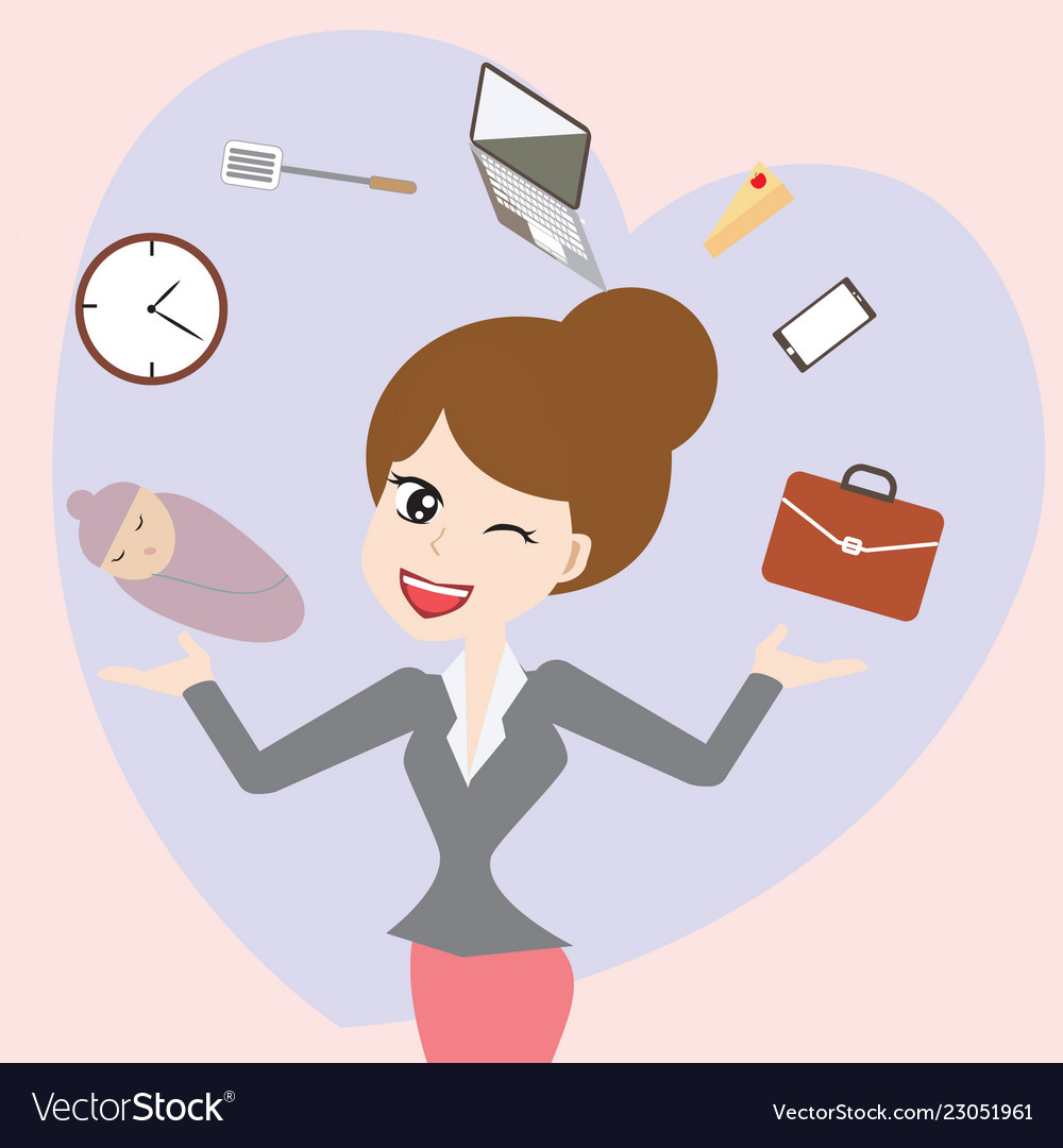 c75c6b7831 Business mom balance work and life cartoon Vector Image