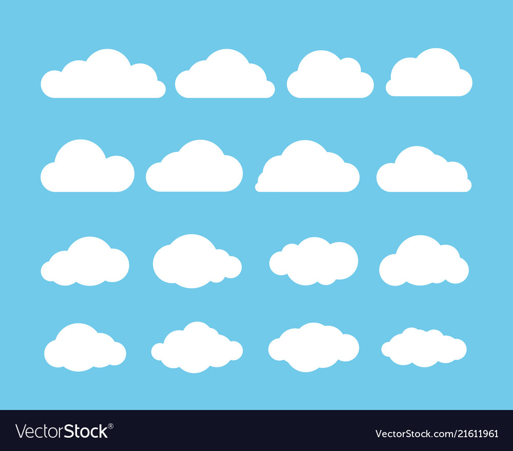 Cartoon flat set of white clouds isolated on blue