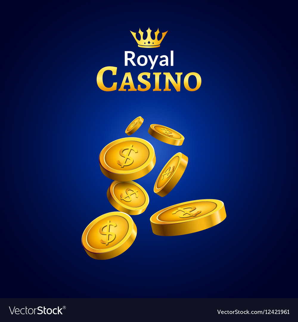 Casino money coins winner Golden coins and crown vector image