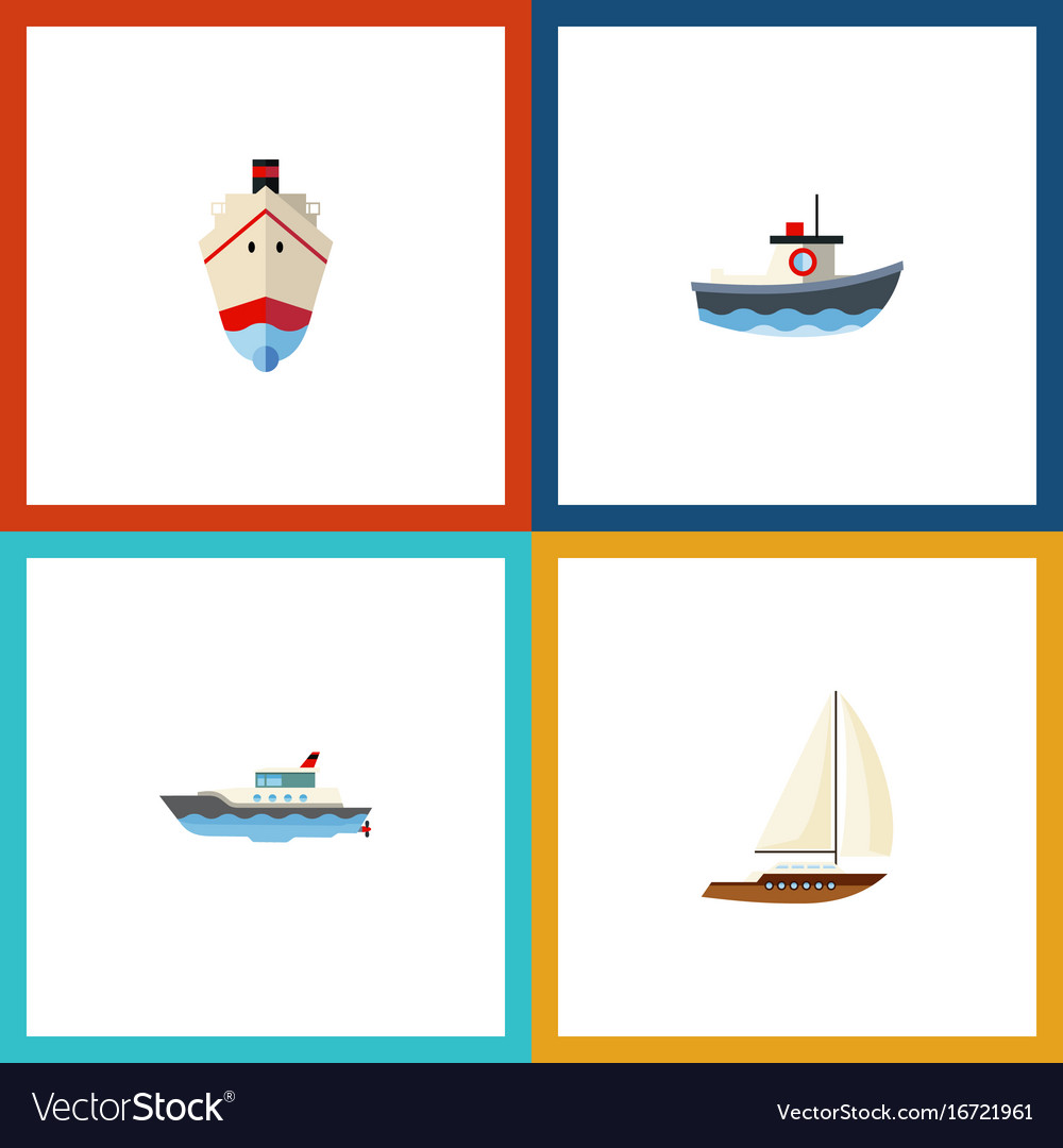 Flat icon boat set of transport delivery