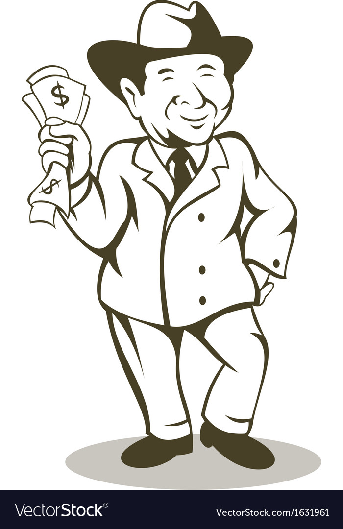 Man in business suit and hat with money