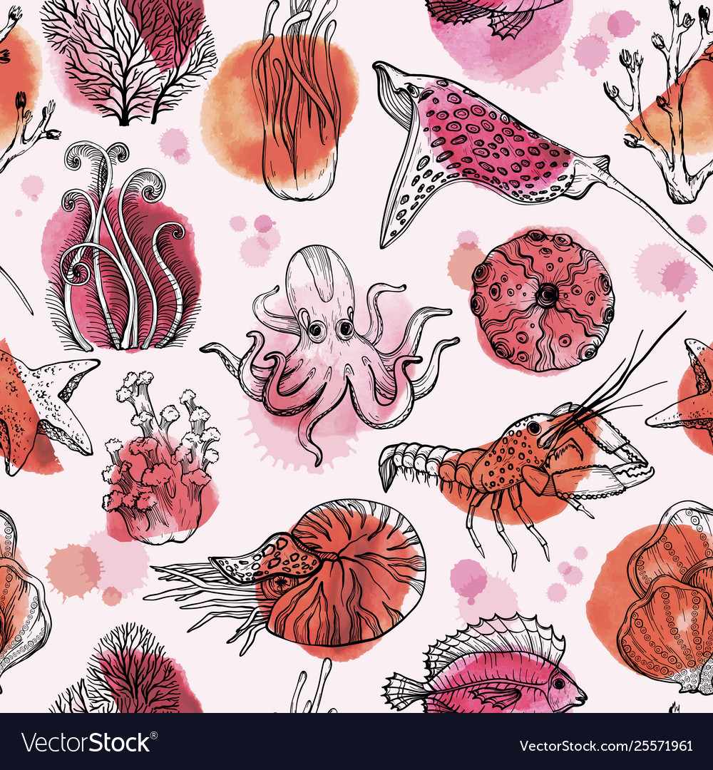 Seamless pattern with watercolor deepwater