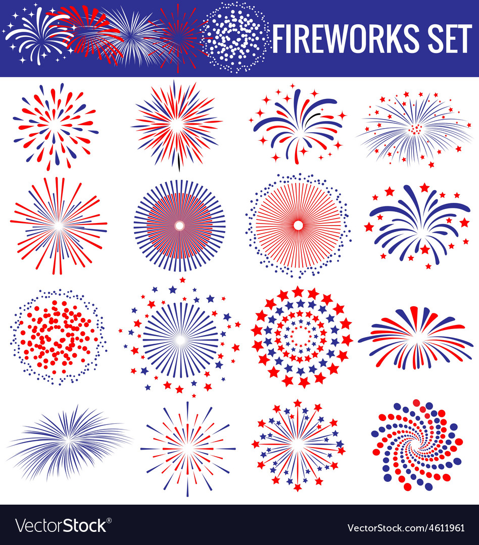 Set of beautiful Fireworks for Independence Day