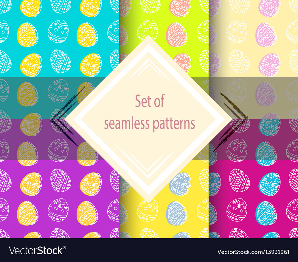 Set of easter seamless patterns
